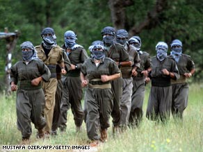 File photo from 2007 of Kurdistan Workers Party fighters at the Mahsun Korkmaz Academy in Northern Iraq.