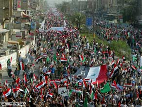 Shiite demonstrators protest a proposed U.S.-Iraqi security pact Saturday in Baghdad.