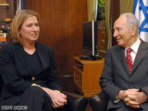 Kadima Party leader Tzipi Livni meets with Israeli President Shimon Peres this week in Jerusalem.