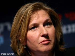 Foreign Minister Tzipi Livni is the chief Israeli negotiator with the Palestinian Authority.