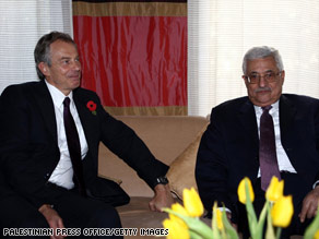 Ex.-U.K. Prime Minister Tony Blair meets with Palestinian Authority President Mahmoud Abbas in Egypt on Sunday.