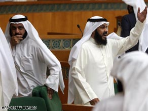 Kuwaiti MPs attend a parliament session at the national assembly in Kuwait City on Tuesday.