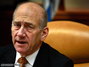 Israeli Prime Minister Ehud Olmert spoke about the &quot;pogrom&quot; during his weekly Cabinet Meeting.