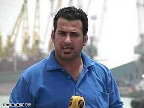  TV reporter Muntadhar al-Zaidi, in a file photo, was jailed after throwing his shoes at President Bush.