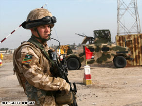 A British soldier attends an Iraqi army training session Thursday in Iraq's Basra province.