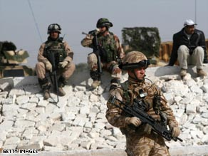 Iraqi and British soldiers during an Iraqi army training session in Basra last week.