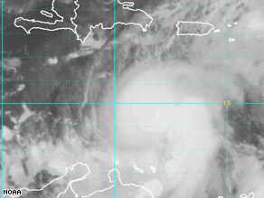 At 8 p.m., Omar was 335 miles south-southwest of Puerto Rico.