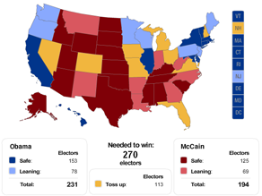 CNN's Electoral map breakdown.