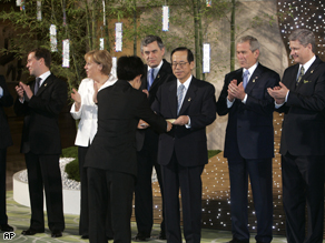 G8 leaders in Toyako, Japan, Monday.