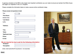 Bush in the Oval Office image from Web site linked to by fundraising appeal Wednesday.