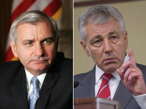 Sens. Reed and Hagel will accompany Obama on a trip to Iraq.