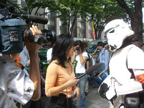 Me interviewing our stormtrooper.