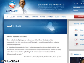 Obamas campaign has revamped language on the Iraq portion of its Web site.