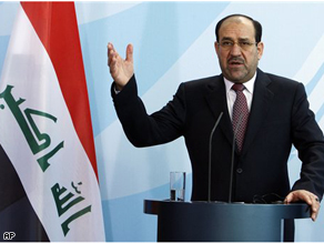 Iraq's Prime Minister Nouri al-Maliki during a joint news conference in Berlin, Tuesday.