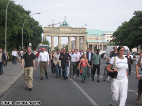 Onlookers gather for Obama's Thursday speech in Berlin, Germany.