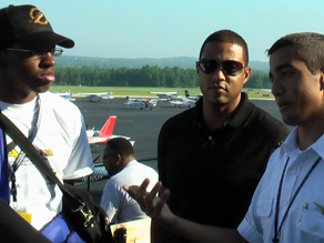 Brandon Henry, Don Lemon and the flight instructor at a flight camp in Georgia