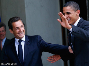 Sarkozy called the Democratic nomination for Obama.