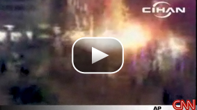Video taken with a cell phone just as one of the explosions went off in a packed residential street in Istanbul.