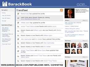 The RNC's new Web site parodies Facebook.com where Sen. Obama has accumulated more than a million supporters.