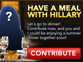 Clinton's campaign advertises a chance to win dinner with the senator.