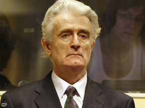 Former Bosnian Serb leader Radovan Karadzic during his initial appearance at the U.N.'s Yugoslav war crimes tribunal in The Hague, Netherlands, Thursday.