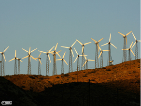 Giant wind turbines are powered by strong prevailing winds near Palm Springs, California.