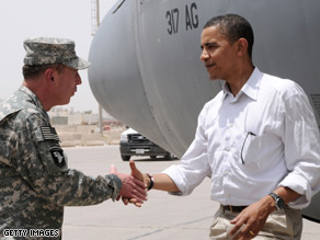 Obama met with Gen. Petraeus while visiting Iraq last month.