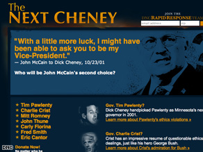 Democrats revealed a new Web site Tuesday taking aim at McCain's VP prospects .
