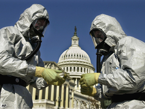 Anthrax clean-up demonstration in Washington, 2001