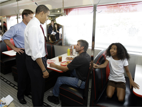 Obama at Schoop's diner in Portage, Ind., Wednesday.