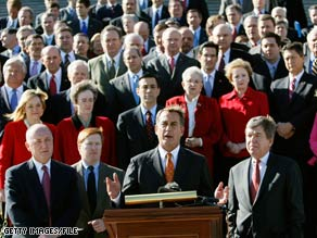 Boehner leads a press conference with House Republicans from the Capitol's steps in this February file photo.