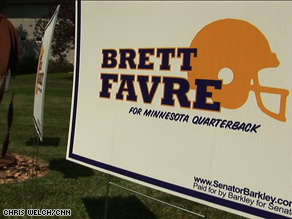 Favre's name is appearing on Senate campaign signs – but not his own.