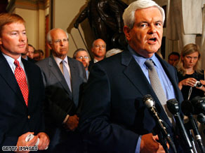 Newt Gingrich came to Capitol Hill Wednesday to support House Republicans protesting the need to vote on an energy bill.