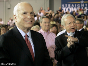  Lieberman campaigned with McCain Tuesday.
