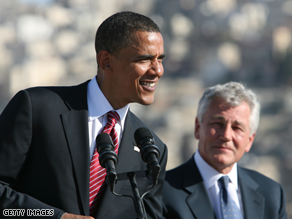  Hagel accompanied Obama on a recent trip to Iraq.