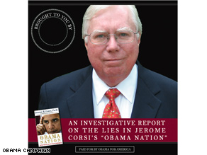 Jerome Corsis picture graces the cover of the Obama campaign memo trashing his new book.