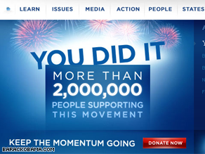 The Obama campaign has surpassed 2 million donors.