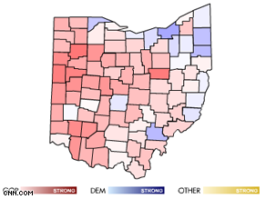 Ohio is expected to be a battleground state, as it was in 2004, above, when President Bush carried the majority of counties but only won by 100,000 votes.