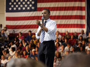 Democratic presidential candidate Sen. Barack Obama, speaks during a town hall meeting at the E.C. Glass High School in Lynchburg, Va., Wednesday.