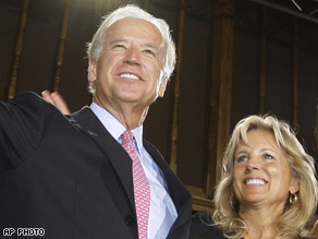 Democratic vice presidential candidate Sen. Joe Biden and his wife, Jill.