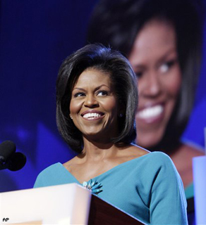 Michelle Obama, wife of Democratic presidential candidate, Sen. Barack Obama, speaks during the Democratic National Convention in Denver, Monday.