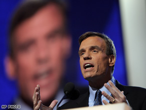 Mark Warner delivers the keynote address during the Democratic National Convention in Denver.