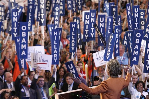 Sen. Hillary Rodham Clinton, addresses the Democratic National Convention in Denver, Tuesday.