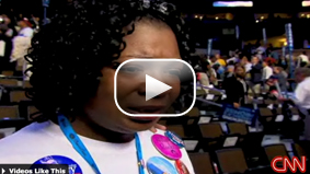 Watch Anne Price-Mill's emotional response to Sen. Hillary Clinton's speech.