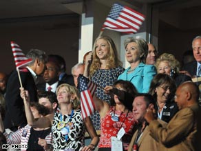 Sen. Clinton looks on with her daughter as former President Clinton speaks at the convention Wednesday.