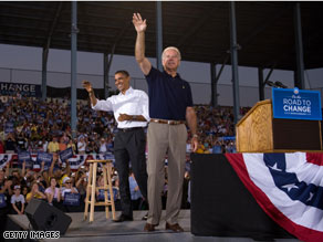 Sens. Biden and Obama campaigned together in Michigan Sunday.