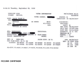 The McCain camp released a document Tuesday battling charges Palin had belonged to the AIP.