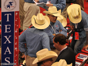 'Thank You W' buttons were seen on delegates from Texas.
