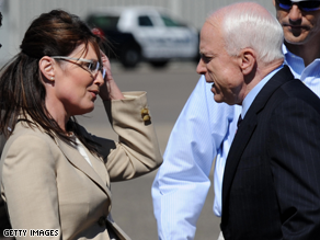 McCain greeted Palin Wednesday.