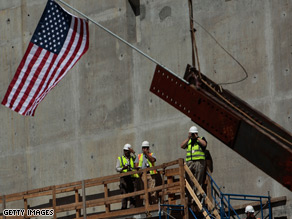 The first beam for the 9/11 memorial was raised into place at Ground Zero last week.